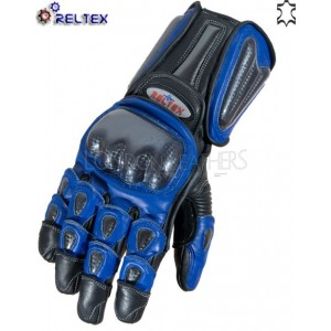 RTX Elite BLUE Dual Leather Biker Gloves