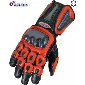 RTX Elite RED Dual Leather Motorcycle Gloves