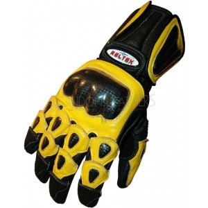 RTX Elite Yellow Dual Leather Biker Gloves