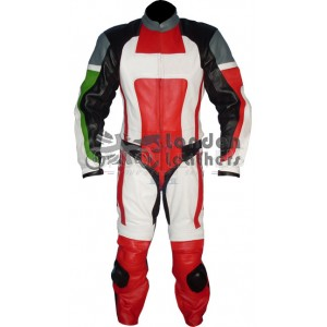 Italia Ducati Style Leather Motorcycle Suit