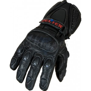 Neon Original Black Pro Vented Leather Motorcycle Gloves