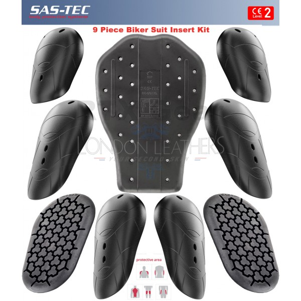 SAS-TEC CE Level 2 Motorcycle Armour Biker Full Suit Protection Set of 9 Inserts