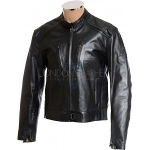 RTX English Cafe Racer Leather Biker Jacket