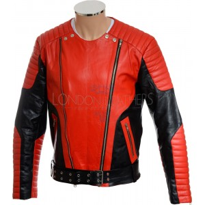 Red HM Genuine Leather Motorcycle Biker Jacket