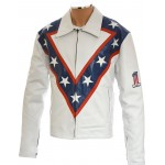Evel Knievel Legendary Stunt Man White Faux Leather Fashion Jacket