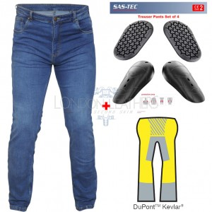 RTX Pro Blue Motorcycle Biker Denim JEANS with SAS-TEC CE Level 2 Armour & Made with Full Leg Length Kevlar Lining