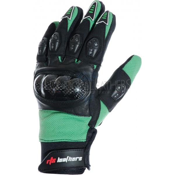 RTX MotoCross Pro Ninja Green Leather Gloves