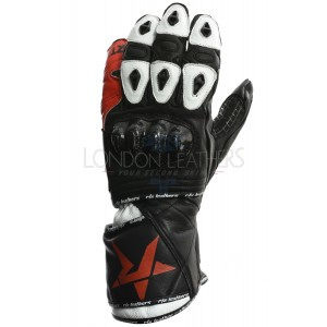 RTX NX5 Track Pro Race Black & Red Leather Motorcycle Gloves
