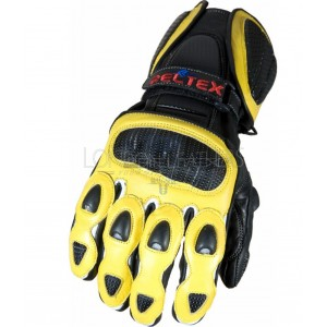 RTX Neon Classic Yellow Vented Leather Biker Gloves