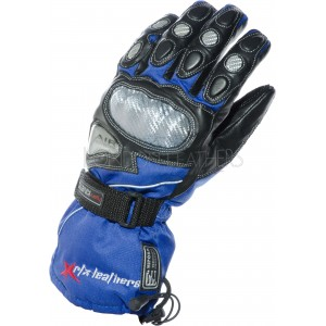 RTX Hydro Kinetic Blue Leather Winter Motorcycle Gloves