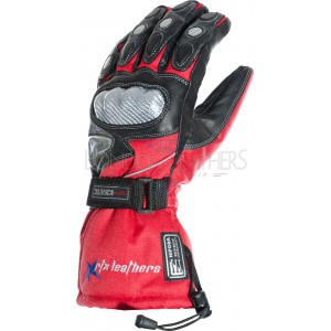 RTX Hydro Kinetic Red Leather Winter Motorcycle Gloves