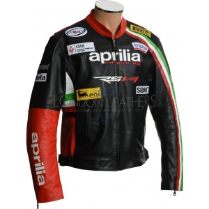 Aprilia Max RSV4 Leather Motorcycle Biker Jacket