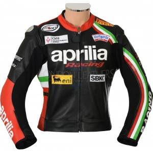 Aprilia Max Italia Racing Leather Armoured Motorcycle Biker Jacket