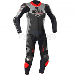 Aprilia Racing Silver & Black Leather Motorcycle Suit