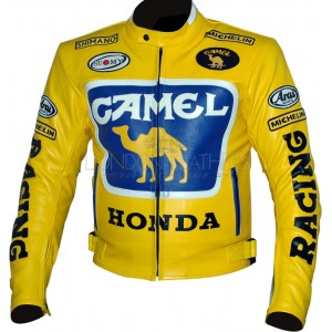 HONDA Camel Yellow Leather Motorcycle Jacket