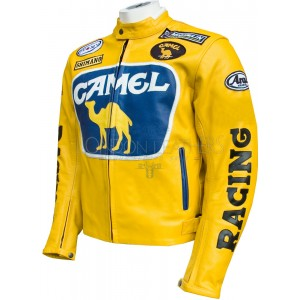 Camel Racing Yellow Leather Motorcycle Jacket