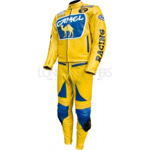 Camel Yellow Leather Motorcycle Race Suit