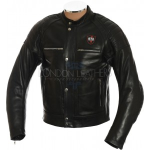 RTX Admiral Black Genuine Leather Biker Jacket