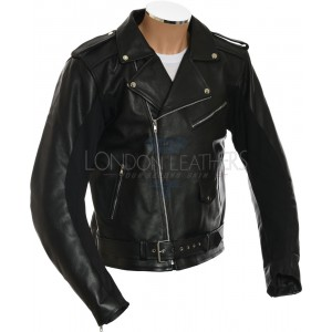 All American Mod Biker Armoured Black Leather Jacket