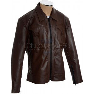 SALE - Rogue Drifter Brown Casual Leather Jacket 3XL
