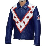 Evel Knievel Wembley Royal Blue Faux Leather Fashion Jacket