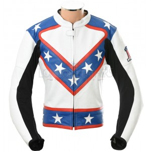 Evel Knievel Star Spangled Biker Grade Leather Motorcycle Jacket