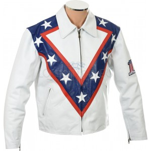 ON SALE - Evel KNIEVEL Legendary White Armoured Leather Jacket