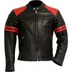 FIGHT CLUB Black & Red Leather Biker Jacket