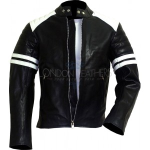 FIGHT CLUB Black & White Leather Biker Jacket