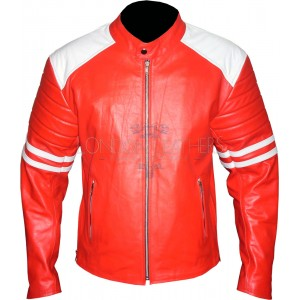 Fight Club Replica Red & White Leather Biker Jacket