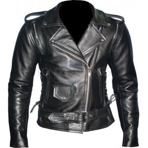 Ladies Goth Motorcycle Leather Jacket