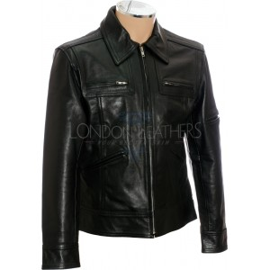 Saints ROW Soft Black Leather Biker Jacket