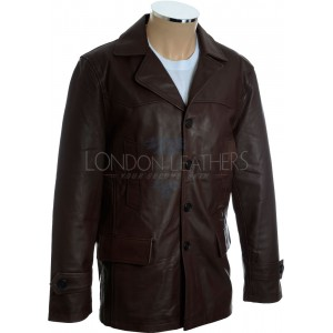 Shaft Vintage Casual Long Brown Leather Coat