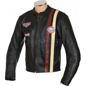 Steve McQueen Gulf Classic Le-Man Armoured Biker Black Leather Jacket