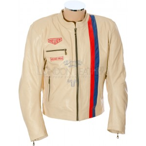 Steve McQueen Cream LE MAN Grand Prix Classic Armoured Biker Jacket