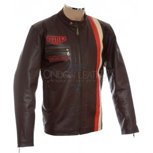 Brown Steve McQueen Heuer GrandPrix Leather Jacket