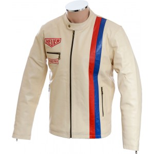 SALE - Cream Steve McQueen Heuer GrandPrix Leather Jacket