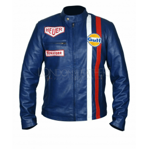 Steve McQueen Le-man Gulf Heuer Firestone Navy BLUE Premium Leather Jacket