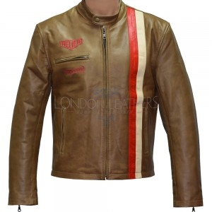 SALE - Vintage Brown Steve McQueen Heuer GrandPrix Leather Jacket