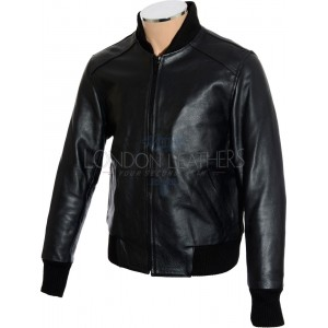 Aviator Classic Black Leather Bomber Jacket