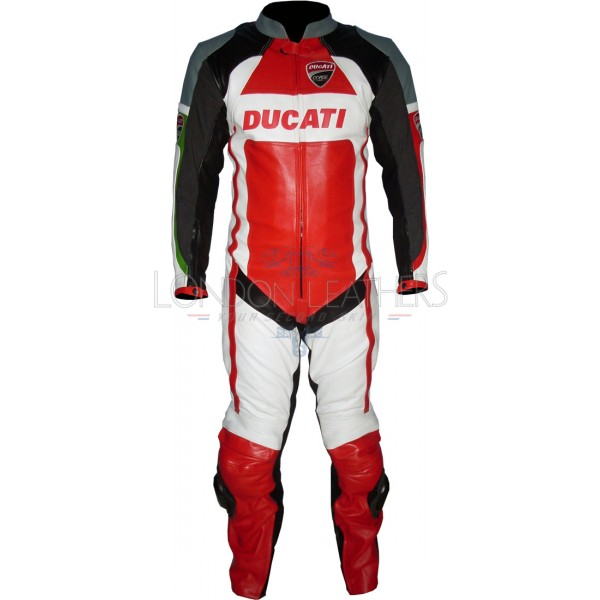 Ducati Corse Tri-Color Leather Motorcycle Suit