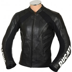 SALE - Ducati Racing Classic Black Leather Motorcycle Jacket