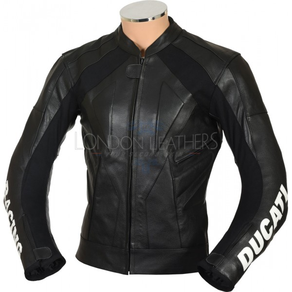 Ducati Classic Black Racing Leather Motorcycle Jacket