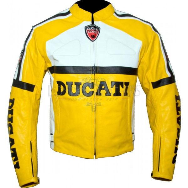 Ducati Yellow Classic Leather Motorcycle Jacket