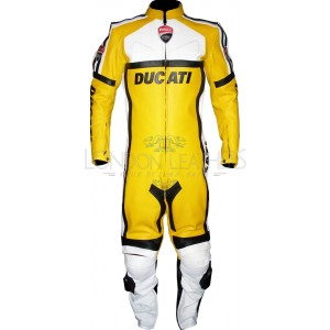 Ducati Corse Yellow Leather Motorcycle Suit