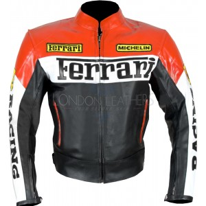 Ferrari Racing Replica CE Leather Biker Jacket