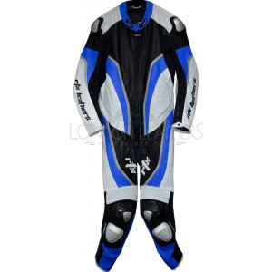 RTX Halo Blue Black Motorcycle Leathers 1Pc Suit