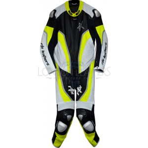RTX Halo Floro Yellow Black Motorcycle Leathers 1Pc Suit