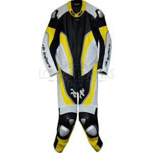 RTX Halo Yellow Black Motorcycle Leathers 1Pc Suit