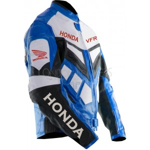 Honda VFR Blue Sportsbike Motorcycle Leather Jacket